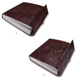 Cuir indien cahiers Recouvrir de papier fait main à l'intérieur (Ensemble de 2)