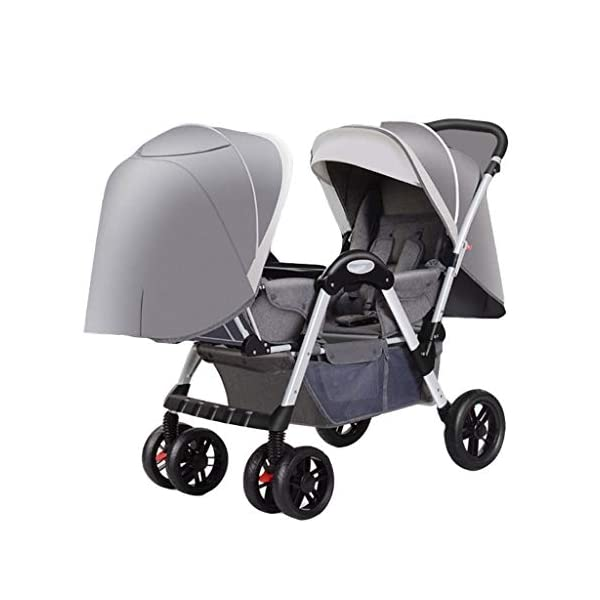 Twin Baby Stroller, 2 Baby Umbrella Caravans, Sit Lie Down, Light and Easy to Fold, Stroller Hjd-Strollers  4