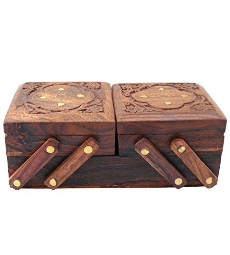 Indien Big Shop Handmade Holz Antik Messing Inlay Flower Design mit samt Innen Schmuckstück Schmuck Box Organizer - Multi Level 8 X 4 Zoll