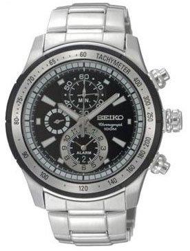 Seiko SNAC87 - Reloj para hombres, correa de acero inoxidable color negro