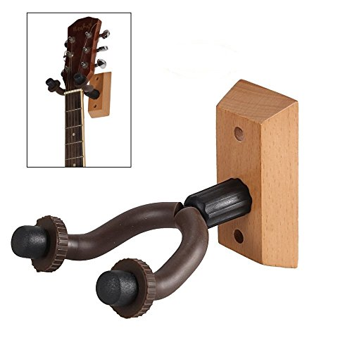 Guitar Hanger, GIM Set of 2 Wooden Guitar Hangers Keep Hook Holder Wall Mount Fits All size Guitars