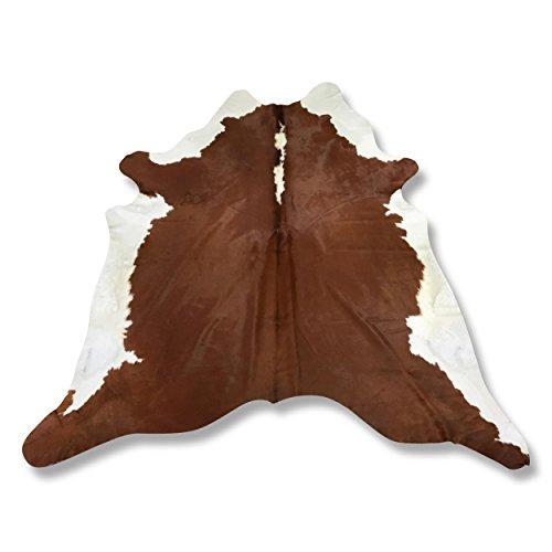Premium Kuhfell-Teppich - L245 x B215 cm - karamell braun weiß - einmaliges Naturprodukt aus Südamerika