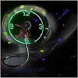 Flyproshop Mini USB LED Reloj Ventilador Ajustable Cuello de cisne Pantalla de tiempo Ventilador del ventilador de refrigeración para PC Computadora portátil portátil Computadoras frescas CU