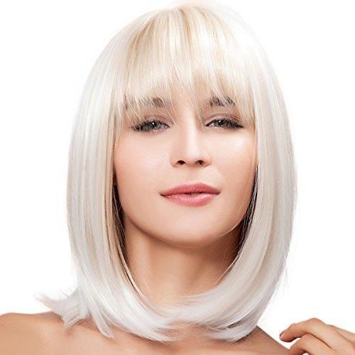 Kalyss Court Super Naturel Femmes Bob Style Tout Droit Blond Perruque à Cheveux Résistant à La Chaleur