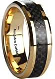 Amazing Black Carbon Inlay Gold Plated Tungsten Carbide Wedding Engagement Band Ring W