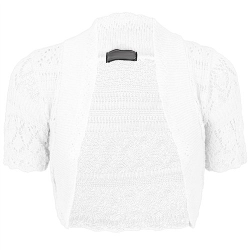 Damen KNITTED CROCHET BOLERO SHRUGS CARDIGAN SHORT SLEEVES TOP Größe 8-18[Weiß,S/M (UK 8-10) (EU 36-38) (US 4-6)]