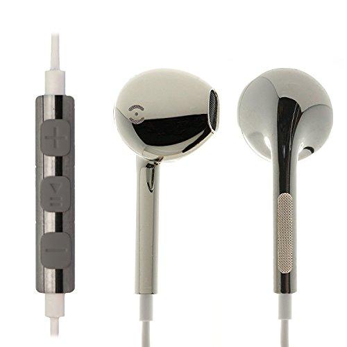 iProtect Écouteurs intra-auriculaires stéréo pour tous les modèles comme Sony, Samsung, LG, Huawei, HTC, etc. en argenté métallique - design original et qualité premium