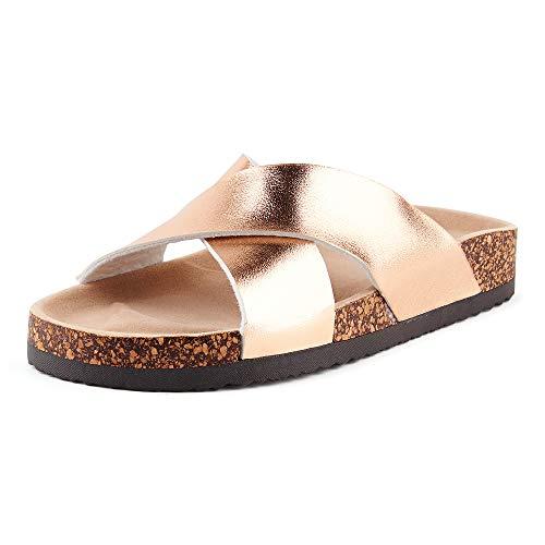 Fusskleidung Damen Pantoletten Metallic Schlappen Glitzer Komfort Sandaletten Sandalen