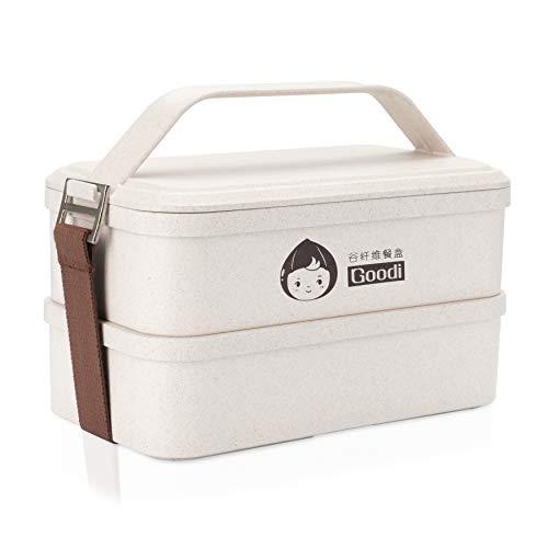 Lunch box eco-bio realizzato con gluma del riso 1200 ml ● lunch box con 3 scomparti atossico inodore bpa free ● porta pranzo (grande)