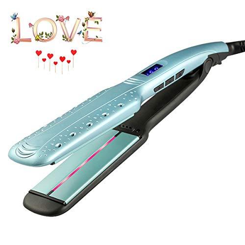 Planchas para el pelo, pinzas de rizado de hierro planas Alisador de placas de cerámica con pantalla LCD digital, plancha de infrarrojos para el cabello