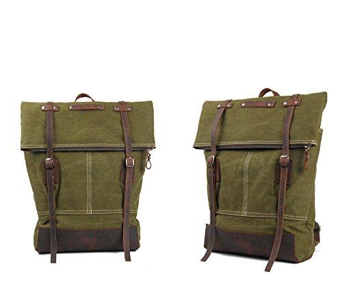 simplebase Unisex in Pelle con tela zaino Vintage Casual zaino borsa da palestra verde 6819green Standard 8004armygreen