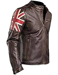 0e7b477c261 UK Flag (Union Jack) Cafe Racer Antique Brown Brando Style Genuine Leather  Biker Jacket