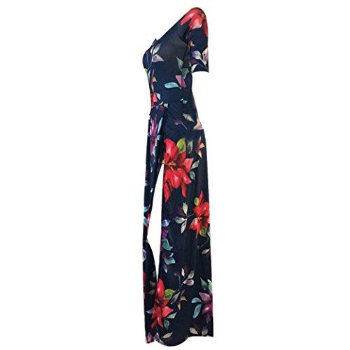 Sannysis Frauen Overall Spielanzug Bodycon Playsuit Langes Kleid Dunkelblau