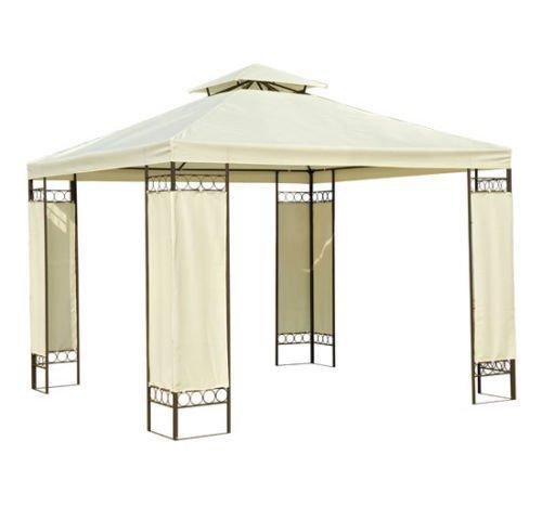 Carpa 3x3m Color Crema Estructura Metal Gazebo Cenador 9m2 posibilidad Techos de Reemplazo