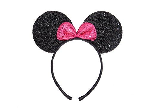 glitzernden Minnie Maus Ohren mit Hot Pink Schleife–Schwarz–FANCY DRESS HEN PARTY–auf Haarreif–Für Kinder Erwachsene (Minnie Maus Party-ohren)