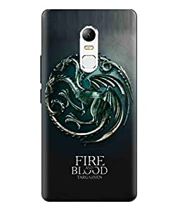 Lenovo Vibe X3 Fire And Blood Targaryen Writing And Dragon Logo Printed Back Cover Hybrid Strong Polycarbonate Hard Case Cover With Premium Quality and Matte Finish by Print Vale