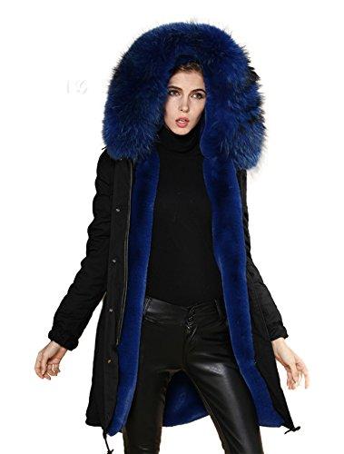 PARKA XXL Kragen aus 100% ECHTPELZ ECHTFELL Jacke Mantel Schwarz 6 Farben (L 38, Blau) (Pelz-jacken Echter)