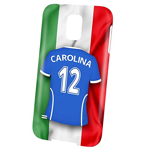 PhotoFancy Samsung Galaxy S5 Handyhülle Premium – Personalisierte Hülle mit Namen Carolina – Case mit Design Fußball-Trikot Italien zur WM in Russland 2018