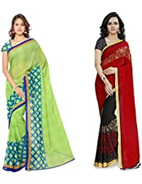 Anand Sarees Women's Faux Georgette Multi Color Printed Combo Saree With Blouse Piece (1115_2_1190_3)