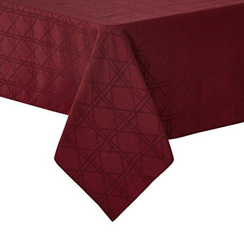 Deconovo Tischdecke Jacquard Tischwäsche Lotuseffekt Tischtuch 130x280 cm Rechteck Bordeaux
