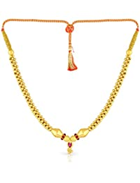 Malabar Gold And Diamonds Tushi Collection 22k (916) Yellow Gold And Crystal Choker Necklace