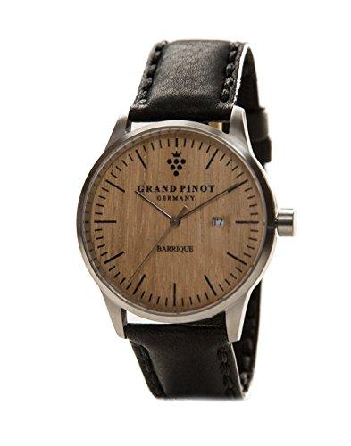 Grand Pinot Uhr Herren Character (42 mm) Silber/Barriquefass mit schwarzem Lederarmband