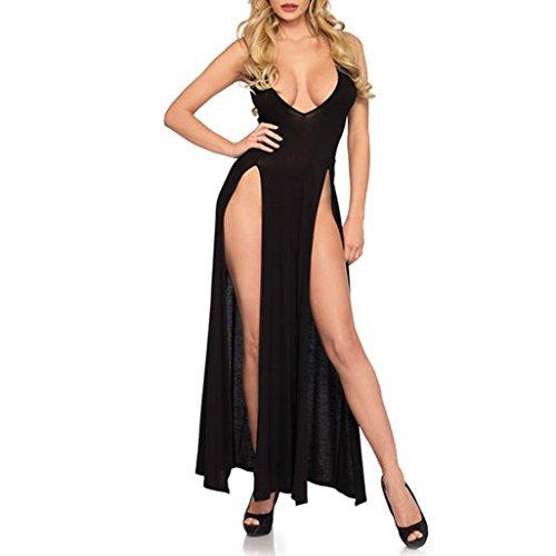 Frauen Wetlook Baby Dolls Dessous Erotik Damen Set Lingerie Plus Size Unterwäsche Nachthemd Lange Rock Pyjamas (Schwarz, XL)