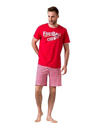 ENVIE Herren Football mit Kurzer Hose 100% Baumwolle Pyjama für Männer, Red, XXL
