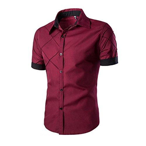 Sommer Slim Fit T-Shirt für Herrent, Amlaiworld Kurzarm T-Shirt Turn-Down Kragen (L, Rot)