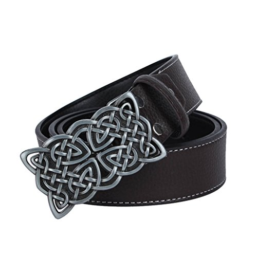 MagiDeal PU Leather Belt with Buckle Rectangular Pattern Celtic Knot / Oval Star - Black Brown, Celtic Knot Pattern Buckle 8x5.8 cm