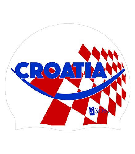 Hochwertige Silikon Kroatien Unisex Damen und Herren Badekappe-bbosi...
