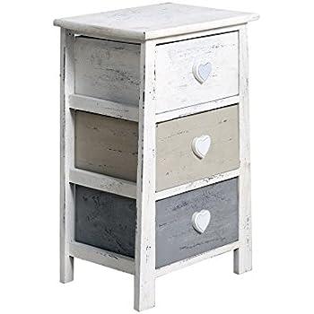 Nachttisch Kommode Schlafzimmer Shabby Chic weiß beige grau Haken ...