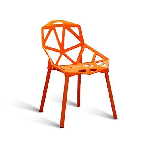 C&S Rückenlehne Hocker Studio Coffee Shop Stuhl Modische Geometrie Hohl Design Stahlrohr Stuhl Bein Dicke Kunststoff Stuhl Oberfläche Orange Lila Schwarz (Color : Orange) -