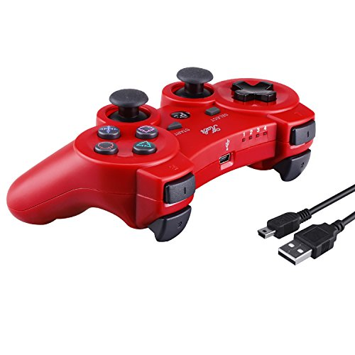 Neue Kabi Bluetooth Wireless Controller für PS3 Controller Doppelschlag Gamepad 6-achsen Game Controller für Playstation 3 Bonus Freies Ladekabel (Rot) (Bluetooth-game-controller Ps3)