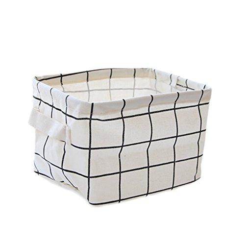 Daorier 1× Boîte de Rangement Pliable Lin Tissu Bureau Stockage Boîte Maquillage Bijoux Jouets Papeterie Divers Panier Organisateur Petite Taille pour espace de rangement Square Treillis Blanc