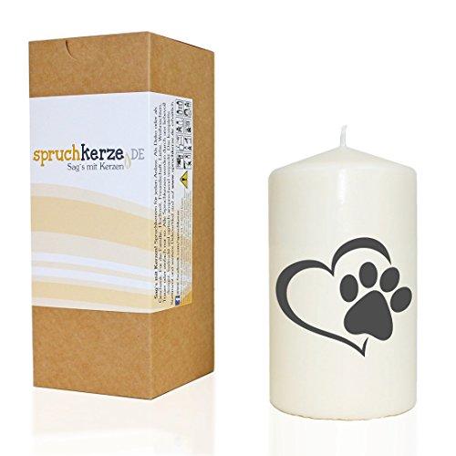 WB wohn trends Spruchkerze ~ Tier-Pfote mit Herz/Hund Katze ~ grau ~ 14cm ~ 480g Ø8cm ~ Trauer-Kerze mit Spruch ~ Brenndauer ca 55 Std - Brücke Kerze
