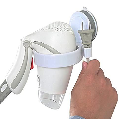 Bathroom Hair Dryer Holder Stand Organizer with Suction Cup Wall Mounted Hair Dryer Organizer Shelf Storage Rack Hair Blower Holder Stand for