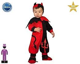 Disfraz de Demonio rojo y negro para niño y bebés en varias tallas para Halloween. Incluye mono y capucha. Con este disfraz parecerá una Diablillo.
