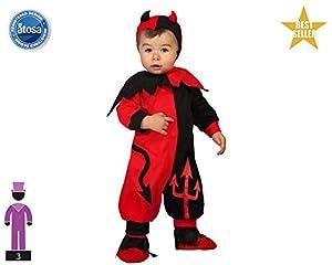 Atosa-61196 Atosa-61196-Disfraz Demonio-Bebé + 24 Meses-Niño-Rojo, color (61196)