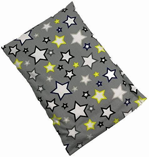 Dinkelkissen mit Bezug Nackenkissen Kissen Körnerkissen Wärmekissen (20 x 30, Sterne)