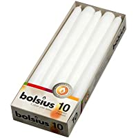 10 White Bolsius Non Drip Dinner Tapered Candles and FREE