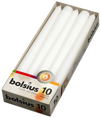 10 white bolsius non drip dinner tapered candles and free inspirational fridge magnet by bolsius