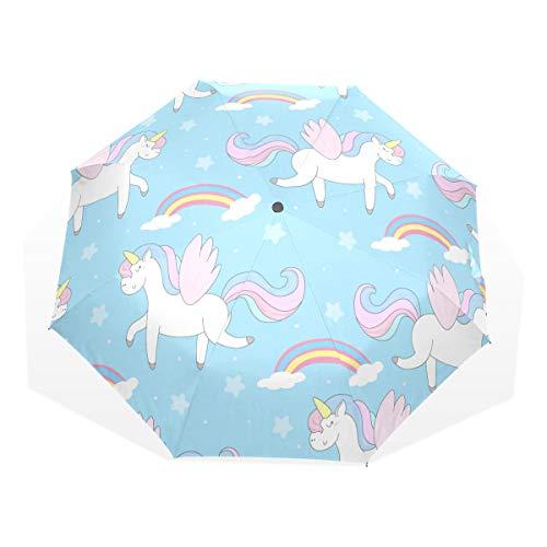 EZIOLY Paraguas de Viaje con Estrellas arcoíris de Unicornio, Ligero, Anti Rayos UV, para Hombres, Mujeres y niños, Paraguas Plegable y Resistente al Viento
