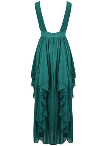 Azbro Chic Deep V Flouncing Chiffon Party Dress Hunter Green