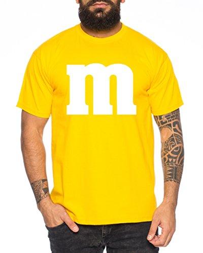 Sambosa Karneval & Fasching - Junggesellenabschied - Gruppen-Kostüm M Aufdruck - Herren T-Shirt Rundhals, Farbe:Gelb;Größe:XL