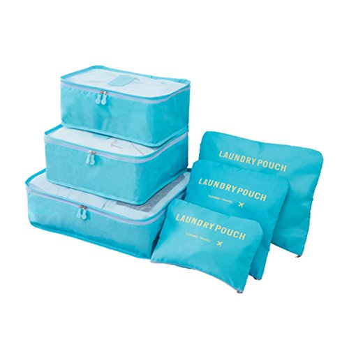 Organizador de Viaje Organizadores para Maletas, EASEHOME 3Pcs Cubos de Embalaje + 3pcs Bolsas de Almacenamiento para Ropa Zapato Cosmético Impermeable Bolsa de Lavandería, Azul Claro