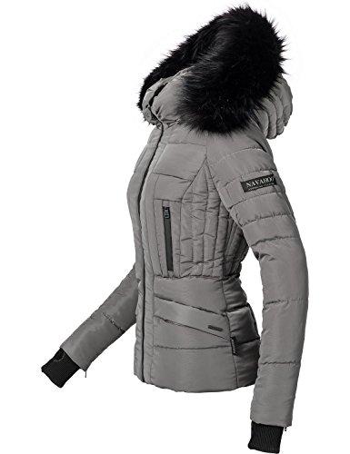 Navahoo Damen Jacke Winterjacke Steppjacke Adele (vegan hergestellt) Grau Gr. L