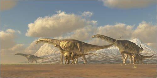 Cuadro sobre lienzo 180 x 90 cm: A herd of Argentinosaurus dinosaurs de Corey Ford / Stocktrek Images - cuadro terminado, cuadro sobre bastidor, lámina terminada sobre lienzo auténtico, impresión e...