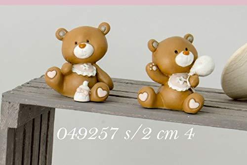 Tom orso orsetto rosa resina 4 cm bomboniera nascita bambino