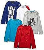 Marca Amazon - Spotted Zebra Pack de 5 Camisetas de Manga Larga para Niños